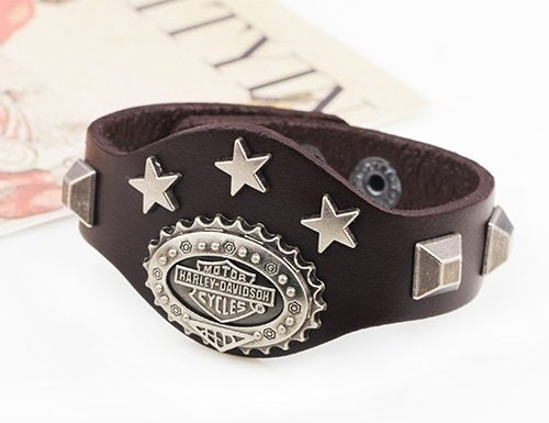 BIKER BRACELET HARELY DAVIDSON MEN'S BRACELET WITH RIVET STARS