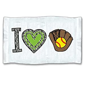 Buy I Love Softball Zebra Towel by 4WoodenShoes
