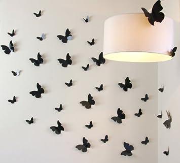 o0o walplus lot de 12 stickers stickers muraux papillons 3d noir cuisine noir cuisine. Black Bedroom Furniture Sets. Home Design Ideas