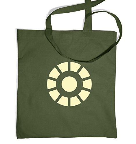 Arc Reactor (glow In The Dark) Tote Bag - Olive Green One Size Tote Bag (Iron Man Glow Arc Reactor)