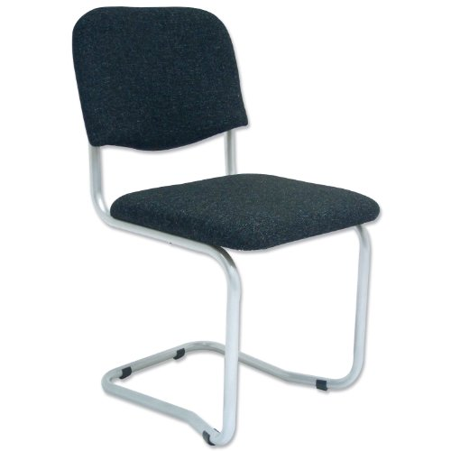 Trexus Cantilever Chair Upholstered Stackable Seat W480xD420xH470mm Silver Frame Charcoal