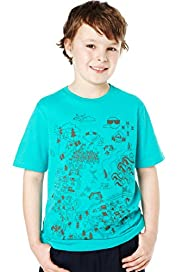 Pure Cotton Map Print T-Shirt with Stay New™