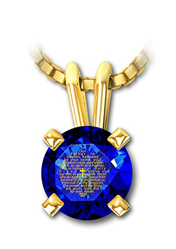 14Kt Gold Christian Cross Necklace - Lord'S Prayer Necklace Inscribed In 24Kt Gold On Blue Sapphire Cubic Zirconia Cz - Easter Gifts