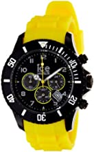Ice-Watch Men's Chrono CH.BY.B.S.10 Yellow Silicone Quartz Watch with Black Dial