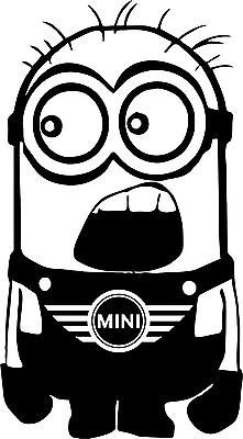 Mini Cooper Minion Decal Sticker Car Decal Laptop Decal - Choice Of Colors front-200833