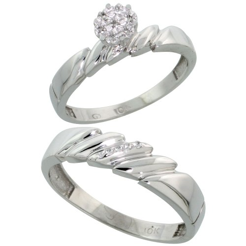 10k White Gold Diamond Engagement Rings Set for Men and Women 2-Piece 0.08 cttw Brilliant Cut, 4mm & 5mm wide, Size 10