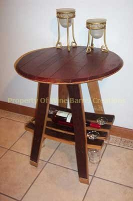 Wine Barrel Barrel Bistro Table w/ Wine Bottle and Glass Rack By Wine Barrel Creations