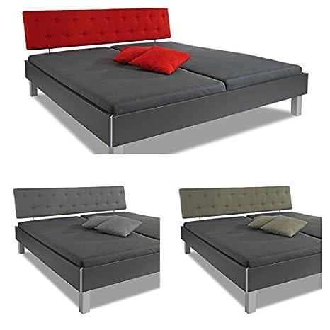 """'Cama """"Paris con rojo, samtigem acolchado Cabecero, 180x 200cm, Antracita, estructura de cama, marco cama, cama doble, cama de matrimonio, madera maciza/mdf, fabricado en Alemania, adormio"""
