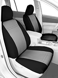 CalTrend Front Row Bucket Custom Fit Seat Cover for Select Mitsubishi Eclipse Models - NeoSupreme (Light Grey Insert and Black Trim)