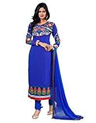 Lookslady Embroidered Blue Georgette Salwar Suit