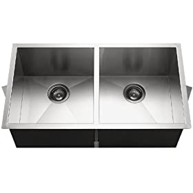 Houzer CTD-3350-1 Contempo 33-by-18-Inch Double Bowl Undermount Stainless Steel Sink