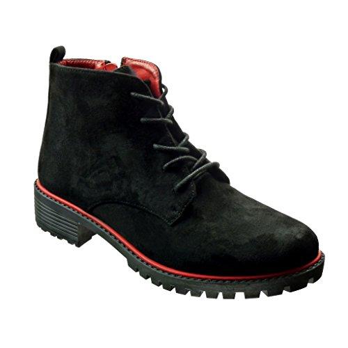 Angkorly - Scarpe da Moda Stivaletti - Scarponcini scarpa derby Desert Boots donna lacci Tacco tacco piatto 3 CM - Nero BO35 T 39