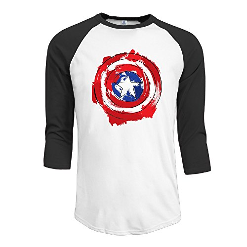 Yesher Men's Captain America Shield Logo 3/4 Sleeve Athletic Jersey - Small (Captain America Essential 3 compare prices)