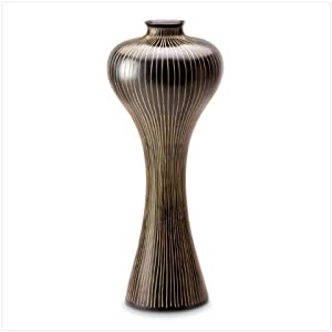STRIPED AND SHAPELY FLOWER FLORAL VASE HOME CENTERPIECE