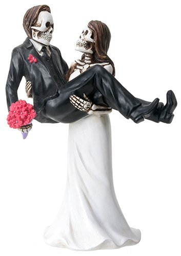 Bride Carrying Groom Skeleton Face Wedding Couple Statue Figurine