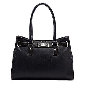 Tosca Belted Satchel Handbag (Black)