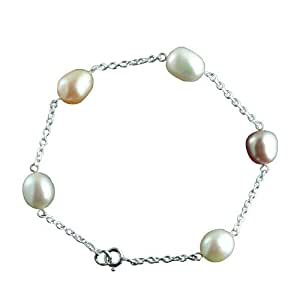 Silver 8x10mm rainbow rice cultured pearl and chain bracelet 7 and a half inches