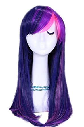 MapofBeauty Stylish Long Straight Cosplay Party Wig (Purple/ Pink)