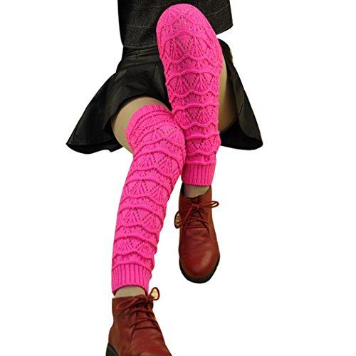 Matoen Women's Cable Knit Leg Warmers Socks (Hot Pink) (Pink Fluffies Leg Warmers)