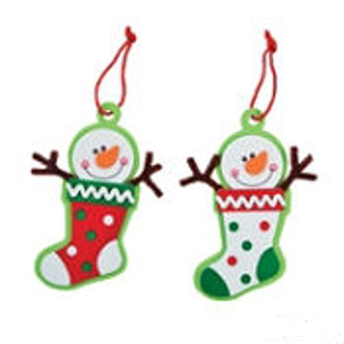 Foam Snowman Stocking Christmas Ornament Craft Kit - 1