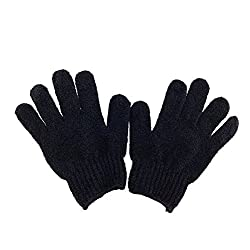 WINOMO Pair of Exfoliating Bath Gloves (Black)