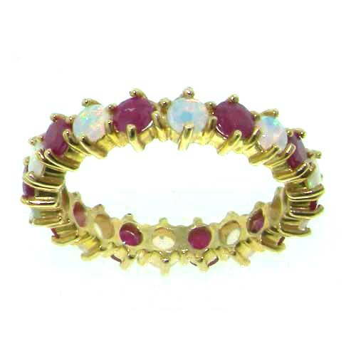 9ct Yellow Gold Ladies Opal & Ruby Full Eternity Ring - Finger Sizes L to Z Available - Suitable as an Anniversary, Engagement or Eternity ring