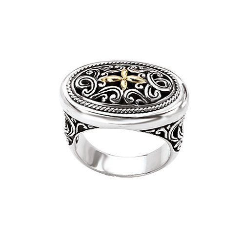 18K Yellow Gold and Sterling Silver Filigree Ring, Size 6