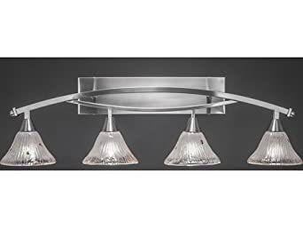 Bow 4 Light Bathroom Vanity Light Finish: Brushed Nickel, Shade Color: Frosted Crystal - Vanity ...
