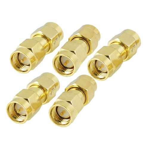 uxcell® 5 Pcs Gold Tone SMA Male to Male Plug RF Coaxial Adapter Connector