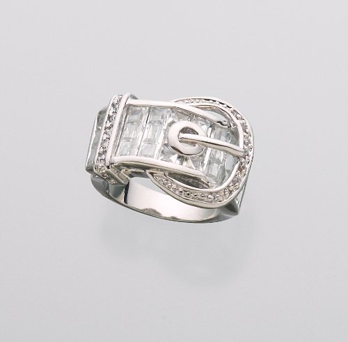 Sparkly Baquette Style Western Belt Buckle Ring