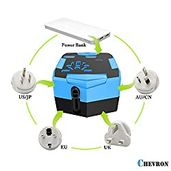 Chevron Worldwide Travel Adapter Charger Cum Power Bank with [SMART POWER] Dual USB Ports 3000mAh In-Built|Universal [IN US UK EU AU] Fused Safety Wall Plug With AC Socket |In Built Car Charger All in One Mobile Charger (Neptune Blue)