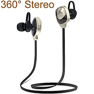 Smartlife 360 degree Stereo Bluetooth Version 4.0 Bluetooth Headset Headphones Lightweight Sweatproof Neckband Wireless Music Sports Headset for Running & Gym & Exercise & Driving - Hands-free