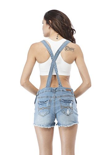 Denim Jean Distressed Overall Shorts (Large, Lightblue)