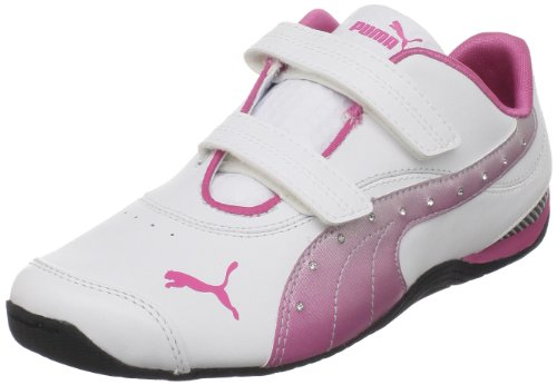 PUMA Drift Cat III L Diamond Fade Velcro Fashion Sneaker (Toddler/Little Kid/Big Kid),White/Shocking Pink/Black,10 M US Toddler