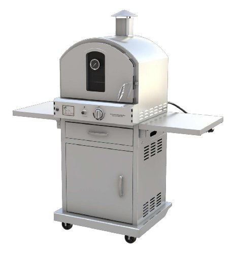 Pacific Living Outdoor Large Capacity Gas Oven with Pizza Stone, Smoker Box and Mobile Cart, 430 Stainless Steel (Small Pizza Stone For Oven compare prices)