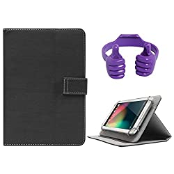 DMG Protective 7in Flip Book Cover Case for Mitashi Sky Tab 2 (Black) + Tablet Holder Hand Stand