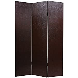 Oriental Furniture 6 ft. Tall Faux Leather Brown Snakeskin Room Divider