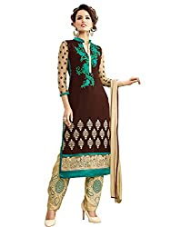STYLE N DEAL Women's Georgette Unstitchced Dress Material (311D3062_Brown Cream_Free Size )