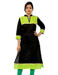 MSONS Women's Casual Black & P.Green Jari Embroiderd Long Kurti In Bombay Dyeing Cotton Fabric