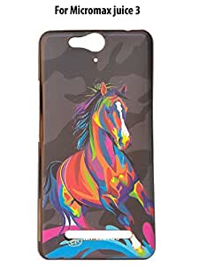 ShiningZon Horse Design Rubberised Back Case Cover For Micromax Juice 3 Q392