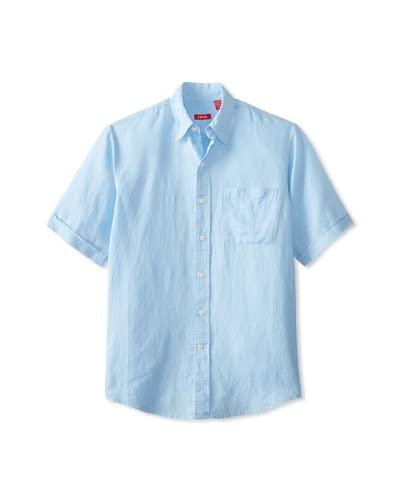 IZOD Men's Short Sleeve Solid Linen Cotton Button Down
