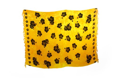 Sarong Pareo Beach Skirt Wrap Batik Flower Yellow Black Non seen through High Quality 9