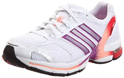 ADIDAS Ladies adiZero Tempo 4 Running Shoes, White/Purple, UK6.5