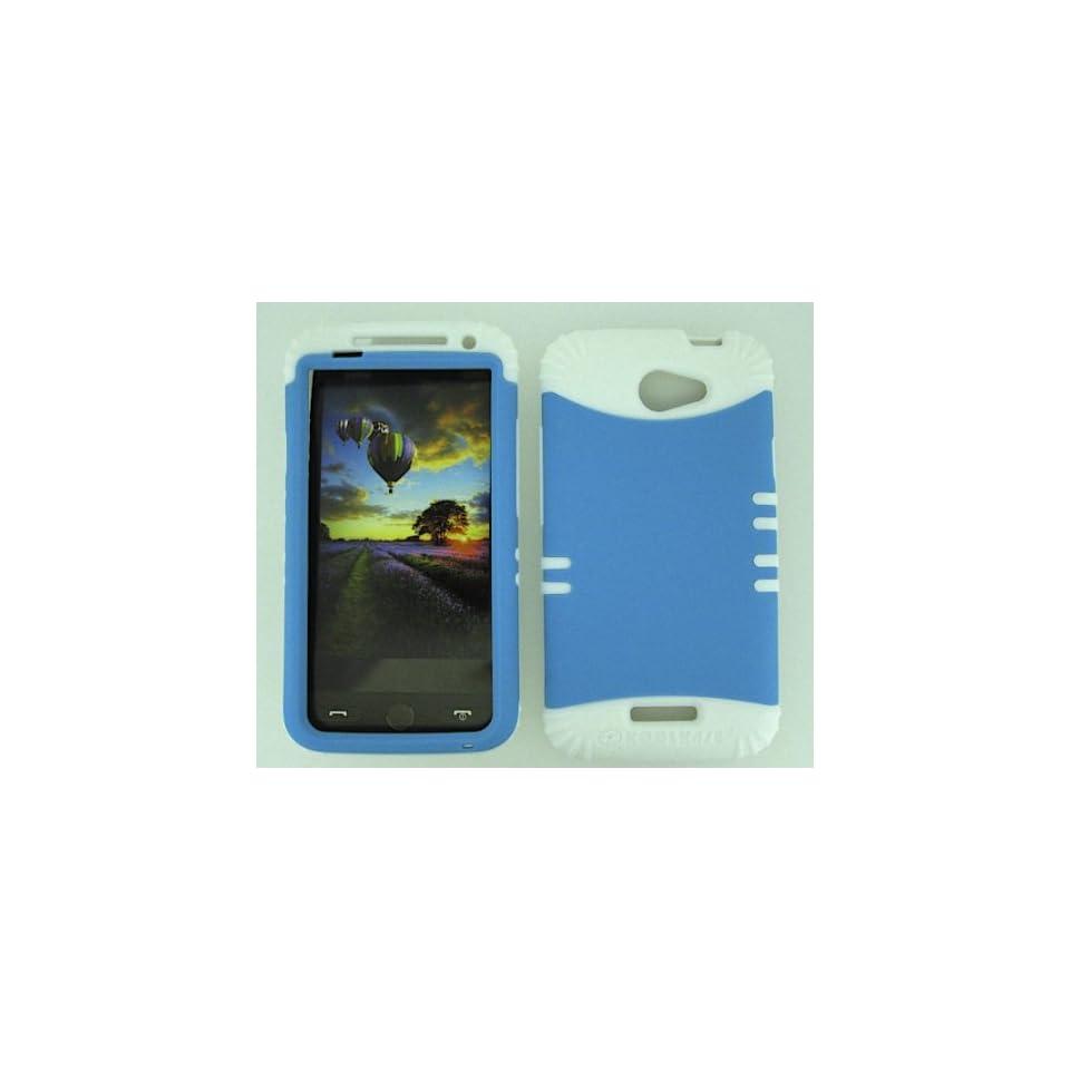 HTC ONE X S720E NEON LIGHT BLUE HEAVY DUTY CASE + WHITE GEL SKIN SNAP ON PROTECTOR ACCESSORY