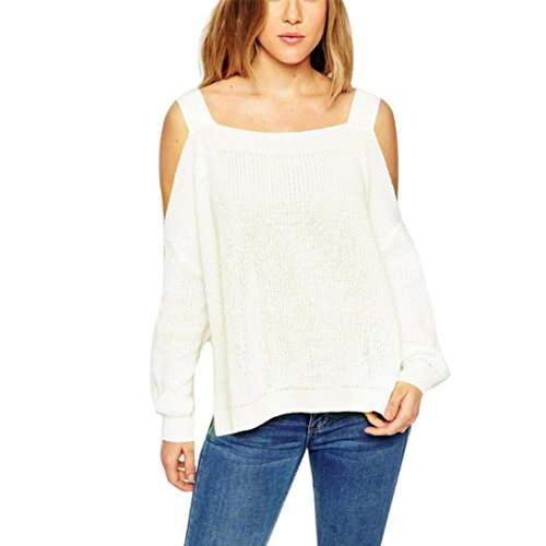 Fheaven Women Long Sleeve Knitted Pullover Off the ShoulderLoose Sweater for Winter (White)