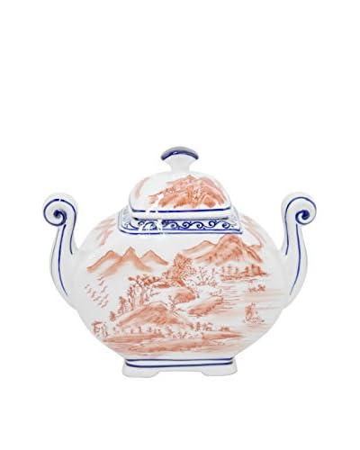 Three Hands Handled Scenery Ceramic Jar with Lid