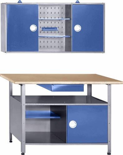 Werkstatt-Werkbank-Werkzeugschrank-Werkstatteinrichtung-blau-Drehgriffe