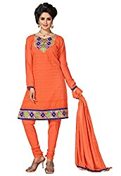 Manvaa Propinquity Orange Semi-Cotton Embroidered Dress Material-KNH30011