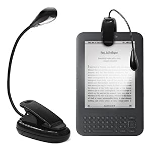 AMOS Clip-on LED Reading Light Lamp Flexible Arm for All Amazon Kindles, Reading Books, eReaders, Tablet, iPad, Kobo, Laptops, Map, Music Stands etc (Black)