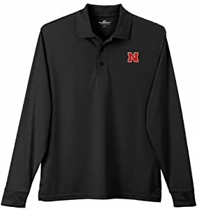 Nebraska Cornhuskers Performance Long Sleeve Polo Solid Black by Vansport
